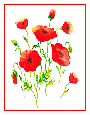 Red Poppies Botanical Design Poster by Irina Sztukowski