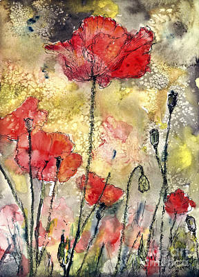 Red Poppies Botanical Watercolor And Ink Poster