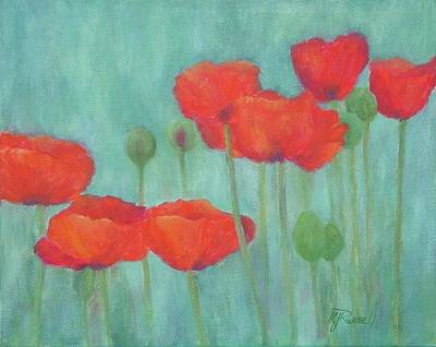 Red Poppies Colorful Poppy Flowers Original Art Floral Garden  Poster