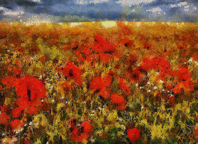 Poster featuring the painting Red Poppies by Georgi Dimitrov