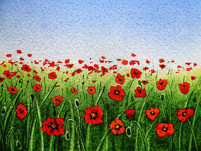 Red Poppies Green Field And A Blue Blue Sky Poster by Irina Sztukowski
