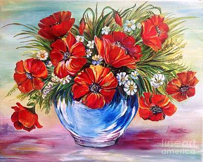 Red Poppies In Blue Vase Poster by Iya Carson