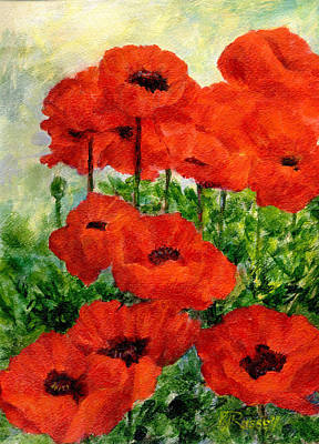 Red  Poppies In Shade Colorful Flowers Garden Art Poster