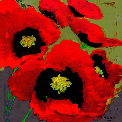 Red Poppies On Olive Poster
