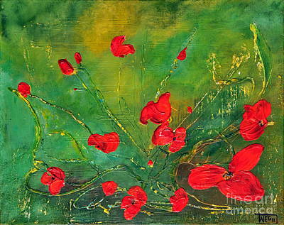 Poster featuring the painting Red Poppies by Teresa Wegrzyn