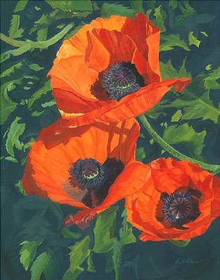Poster featuring the painting Red Poppies Three by Lynne Reichhart