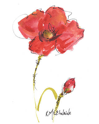Red Poppy And Bud Poster