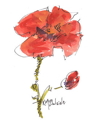Red Poppy And Pal Poster by Kathleen McElwaine