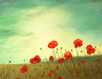Red Poppy Field With Green Sky Poster