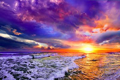 Red Purple Sea Sunset-sun Trail Waves Seascape Poster
