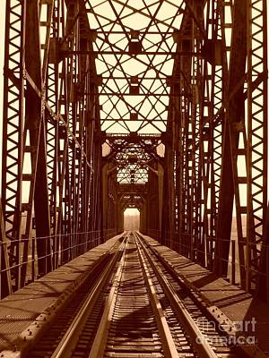 Poster featuring the photograph Red River Train Bridge #1 by Robert ONeil