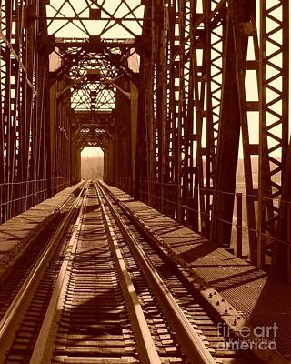 Poster featuring the photograph Red River Train Bridge #2 by Robert ONeil