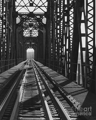 Poster featuring the photograph Red River Train Bridge #3 by Robert ONeil