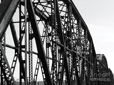 Poster featuring the photograph Red River Train Bridge #4 by Robert ONeil