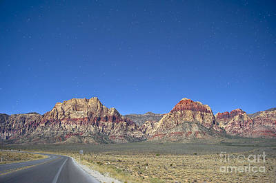 Red Rock Canyon By Moonlight Poster by C Sakura