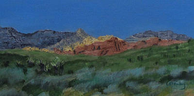 Poster featuring the painting Red Rock Canyon Panorama by Linda Feinberg