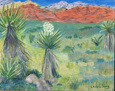 Poster featuring the painting Red Rock Canyon With Yucca by Linda Feinberg