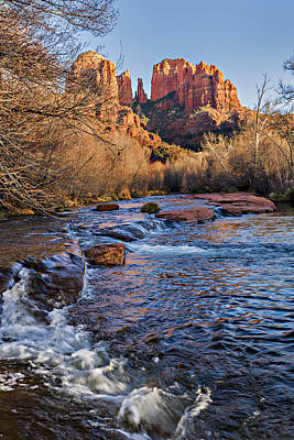 Red Rock Crossing Winter Poster by Mary Jo Allen