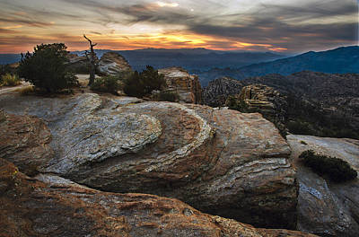 Red Rock Sunset On Mount Lemmon Arizona Poster by Dave Dilli