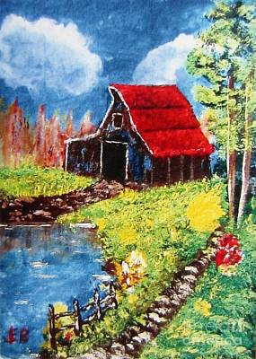 Red Roof Barn Impressionism Poster