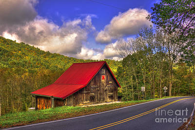 Red Roof In The Blue Ridge Mountains Poster by Reid Callaway