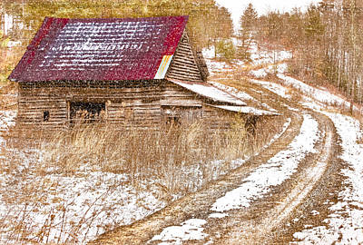 Red Roof In The Snow  Poster by Debra and Dave Vanderlaan