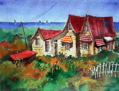 Red Roofs In Barbados Poster by Val Byrne