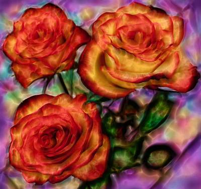 Poster featuring the digital art Red Roses In Water - Silk Edition by Lilia D