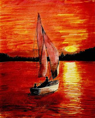 Red Sail Sunset Poster