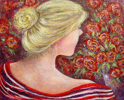 Poster featuring the painting Red Scented Roses by Natalie Holland