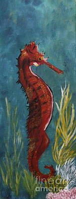 Red Seahorse - Sold Poster by Christiane Schulze Art And Photography