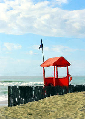 Red Shack On The Beach Poster by Elaine Plesser