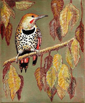 Poster featuring the painting Red Shafted Flicker by VLee Watson