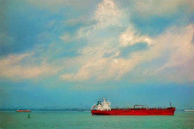 Red Ship In Oils Poster