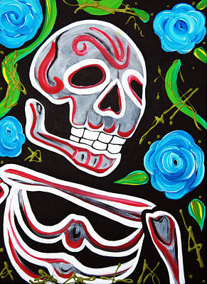 Red Skulls N Roses Poster by Laura Barbosa