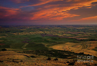 Red Sky Over The Palouse Poster by Mike  Dawson