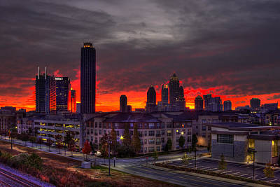 Red Sky Sunrise Midtown Atlanta Poster by Reid Callaway
