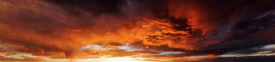 Red Sky Sunset After A Storm In Taos Poster by Panoramic Images