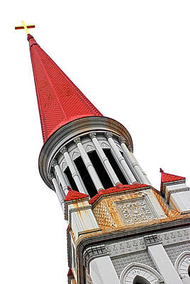 Red Steeple Church Poster
