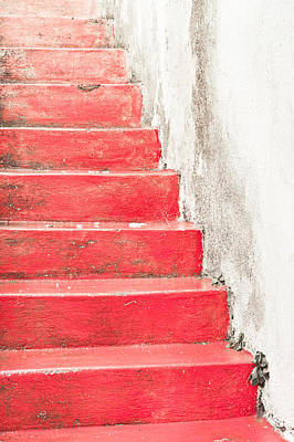 Red Stone Steps Poster by Tom Gowanlock