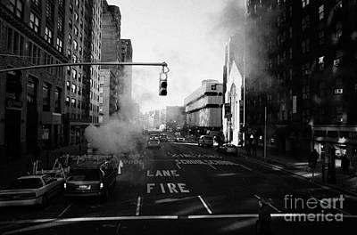 Red Stop Light Fire Lane Steam Pipe Venting 7th Avenue And 14th Street Greenwich Village New York Poster by Joe Fox