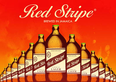 Red Stripe Beer Poster by Damion Lawrence