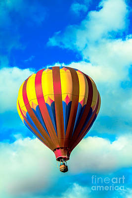 Red Striped Hot Air Balloon Poster
