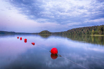 Red Sunset Buoys Poster by Yevgeni Kacnelson