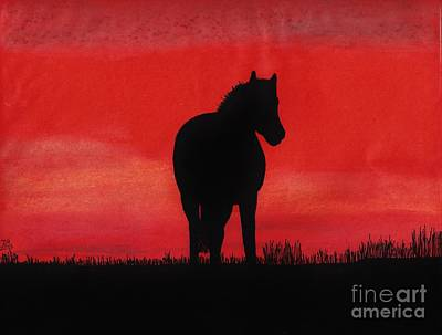 Red Sunset Horse Poster