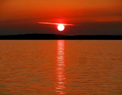 Poster featuring the photograph Red Sunset Over Bellingham Bay by Karen Molenaar Terrell
