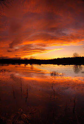 Poster featuring the photograph Red Sunset Over Massabesic Lake by Sebastien Coursol