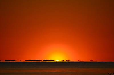 Red Sunset With Superior Mirage On Santa Rosa Sound Poster by Jeff at JSJ Photography