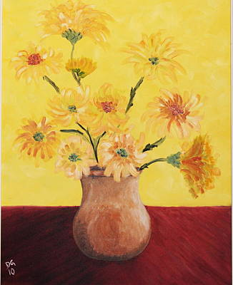 Red Table And Yellow Flowers Poster