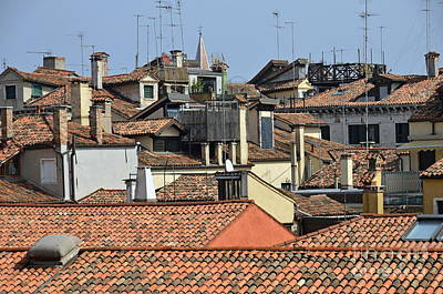 Red Tiled Roofs From Doges Palace Poster by Sami Sarkis